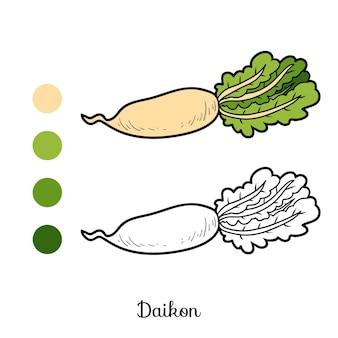 Livro de colorir para crianças, vegetais, daikon