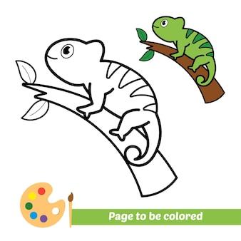 Livro de colorir para crianças vetor camaleão