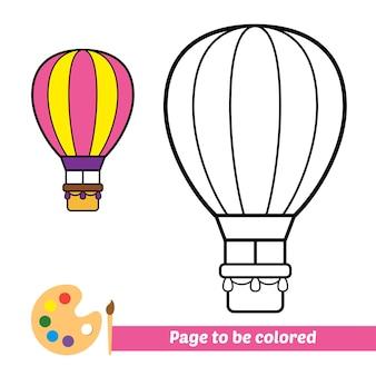 Livro de colorir para crianças vetor de balão de ar quente