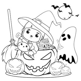 Livro de colorir para halloween com uma linda menina bruxa 14