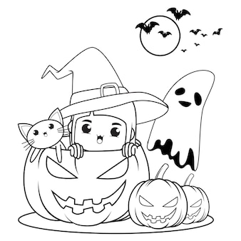 Livro de colorir para halloween com uma linda menina bruxa 21