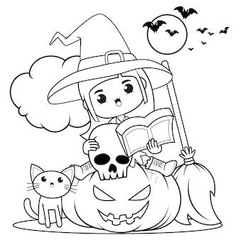 Livro de colorir para halloween com uma linda menina bruxa 24