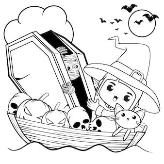Livro de colorir para halloween com uma linda menina bruxa 27