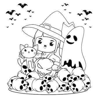 Livro de colorir para halloween com uma linda menina bruxa 28