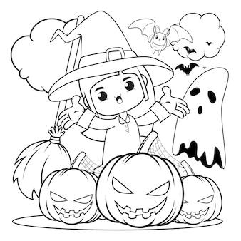 Livro de colorir para halloween com uma linda menina bruxa 2