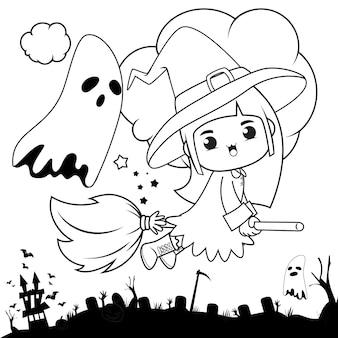 Livro de colorir para halloween com uma linda menina bruxa 3