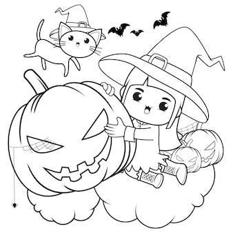 Livro de colorir para halloween com uma linda menina bruxa 6