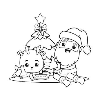 Livro de colorir para o dia de natal com o papai noel e um cervo fofo
