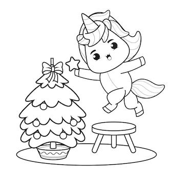Livro de colorir para o dia de natal com um lindo unicórnio