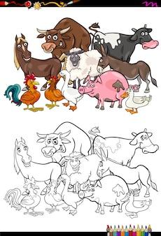Livro de colorir para personagens de animais de fazenda