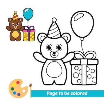 Livro de colorir para vetor de urso de aniversário de crianças