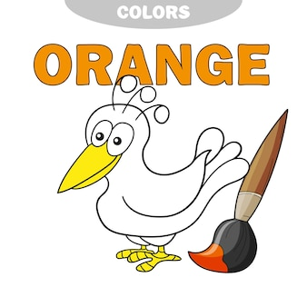 Livro de colorir - pássaro finny. aprenda as cores - laranja