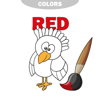 Livro de colorir - pássaro finny. aprenda as cores - vermelho