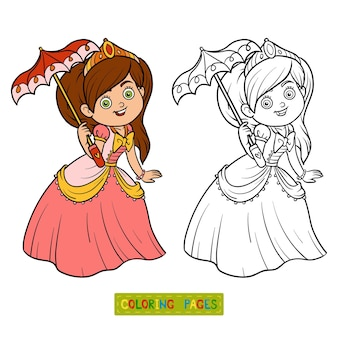 Livro de colorir, personagem de desenho animado, princesa com guarda-chuva