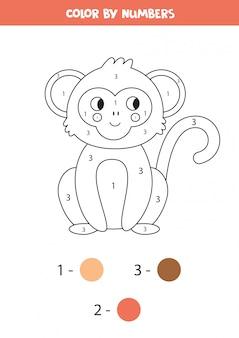 Livro de colorir por números. macaco bonito dos desenhos animados.