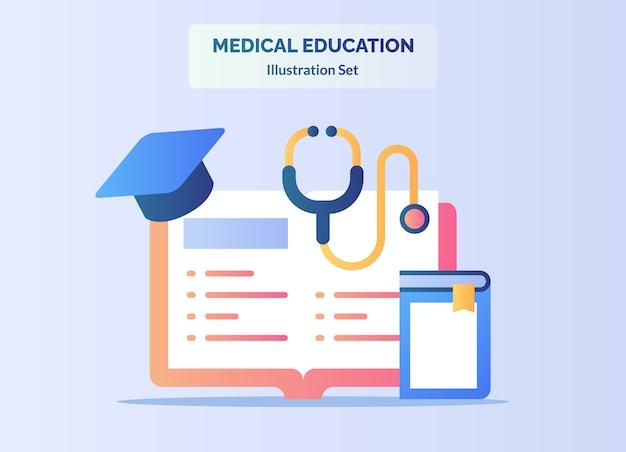 Livro de conceito de educação médica aprender literatura estetoscópio chapéu pós-graduação