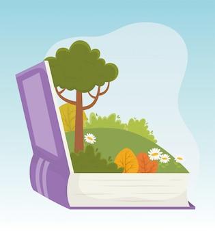 Livro de conto infantil paisagem árvore flores grama folhagem ilustração