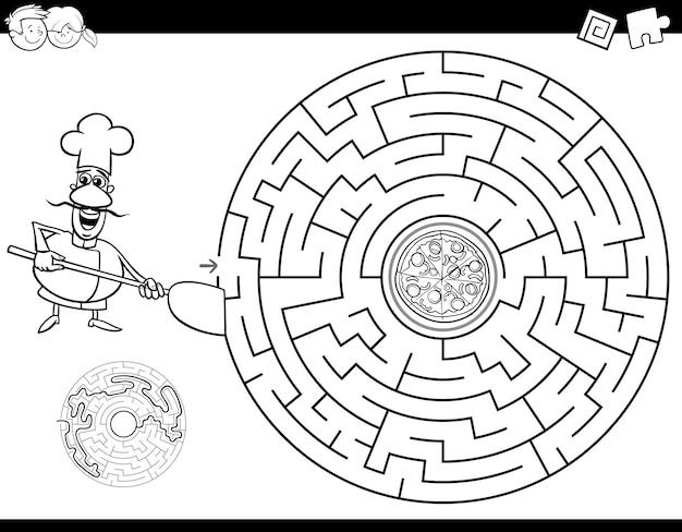 Livro de cor de labirinto com chef e pizza