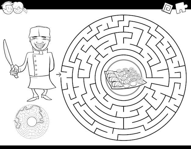 Livro de cor de labirinto com chef e sushi