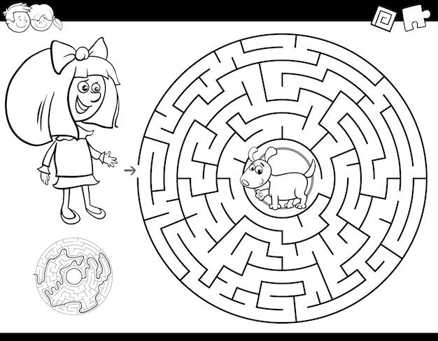 Livro de cor de labirinto com menina e cachorro
