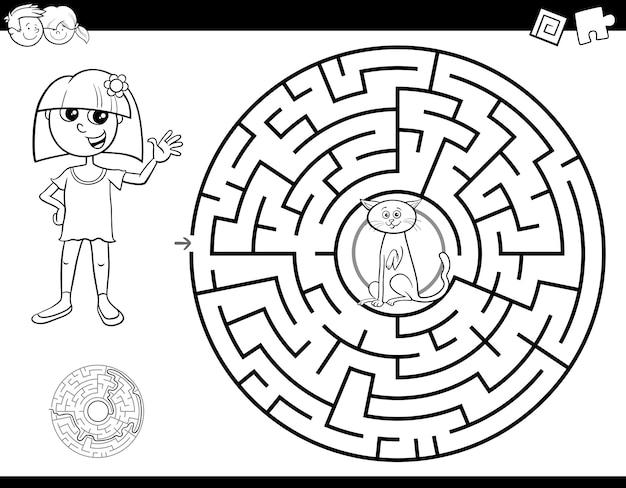Livro de cor de labirinto com menina e gato