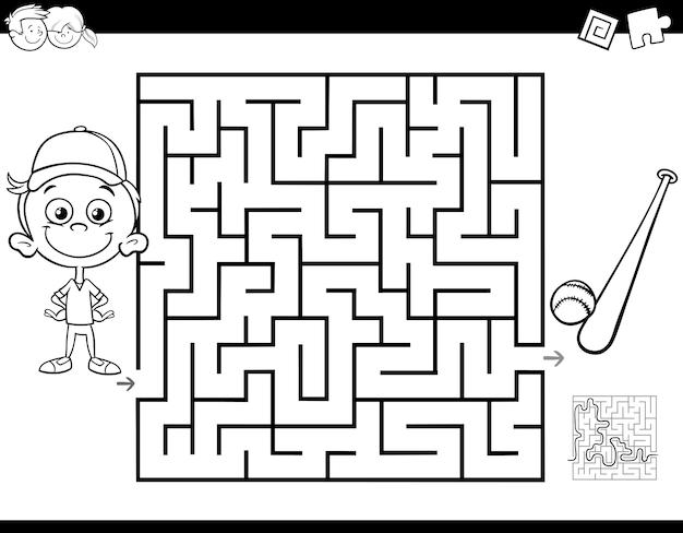 Livro de cor de labirinto com menino e beisebol