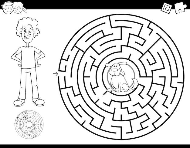 Livro de cor de labirinto com menino e cachorro