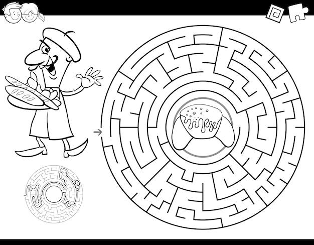 Livro de cor de labirinto com padeiro e croissant