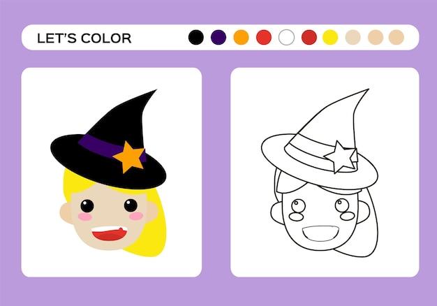 Livro de cores de bruxinha bonito dos desenhos animados. educação para colorir para crianças. feliz jogo de halloween. vetor