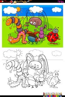 Livro de cores de grupo de personagens animais de insetos