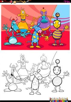 Livro de cores do grupo de personagens alienígenas ou monstros