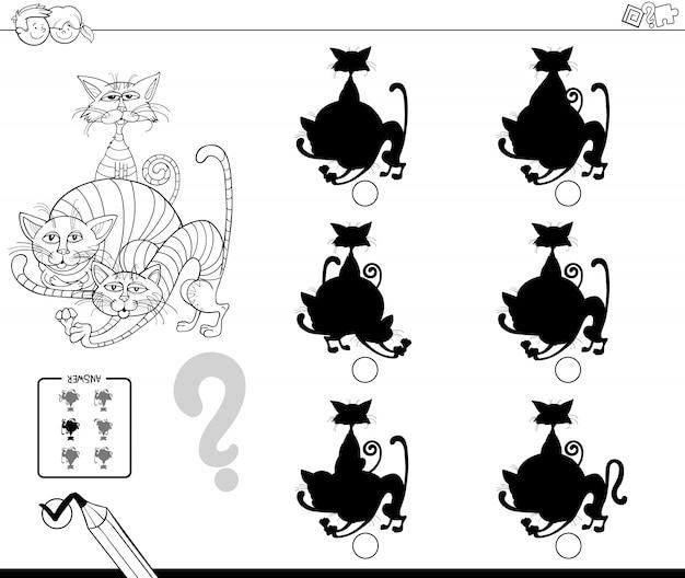 Livro de cores do jogo escolar de silhuetas de gatos