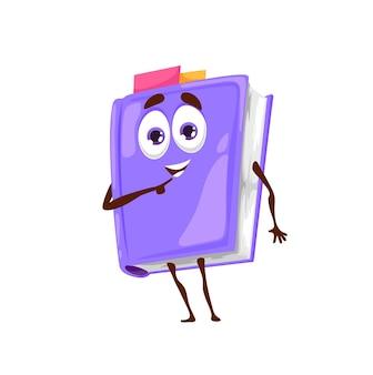 Livro de desenho animado, personagem fofinho de livro escolar