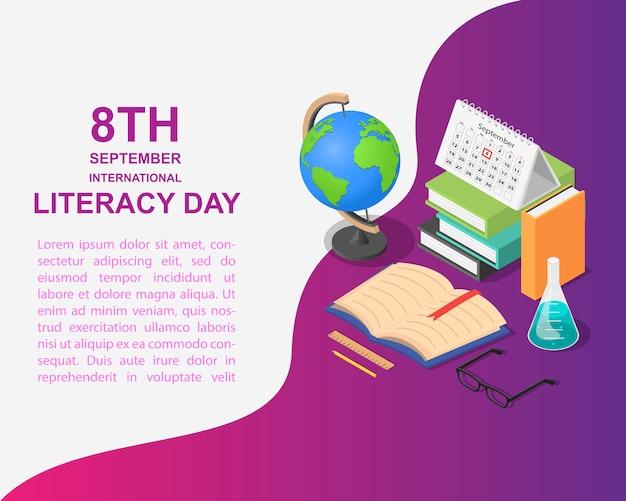 Livro de dia de alfabetização em estilo isométrico