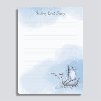 Livro de diário com barco desenhado à mão