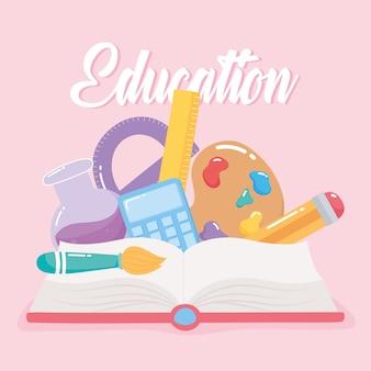 Livro de educação, calculadora, escova, lápis, lápis, escola, elementar, desenho animado, icon illustration