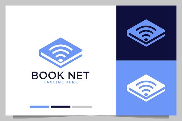 Livro de educação com design de logotipo de rede