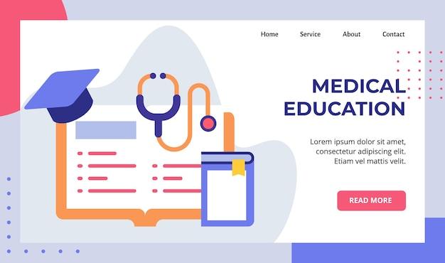 Livro de educação médica aprender literatura estetoscópio chapéu campanha de pós-graduação