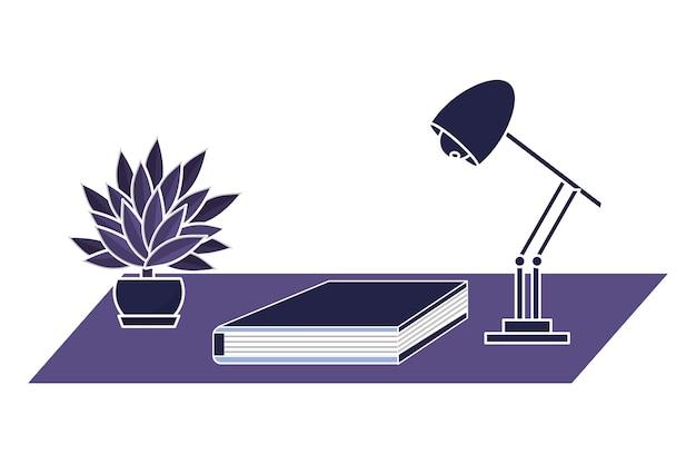 Livro de escritório com lâmpada e planta exótica