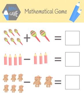 Livro de exercícios de matemática para educação pré-escolar. quebra-cabeças para crianças. aprenda a contar. resolver exemplos