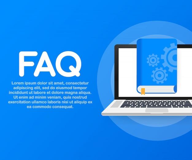 Livro de faq do conceito para a página da web, banner, mídia social.