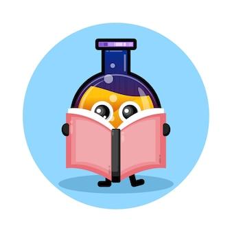 Livro de garrafa de poção logotipo de personagem fofo