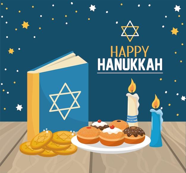 Livro de hanukkah com celebração de pães e biscoitos
