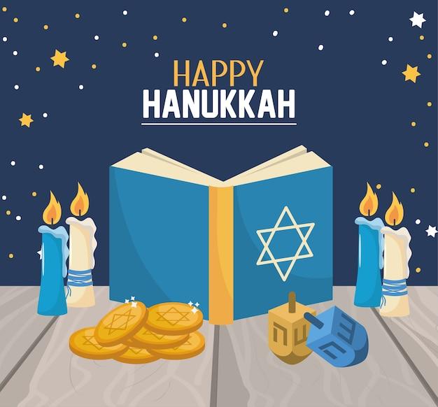 Livro de hanukkah com velas e decoração de giro