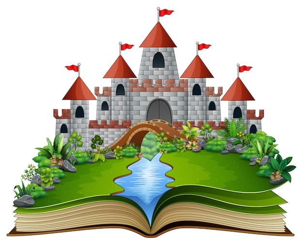 Livro de história com um castelo e rio no parque verde