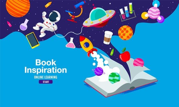 Livro de inspiração, aprendizagem online, estudo de casa, volta às aulas, design plano