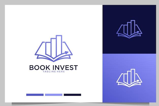 Livro de investimento e design de logotipo de arte de linha financeira