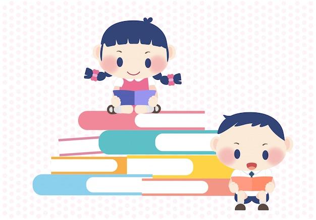 Livro de leitura alegre e feliz educação de crianças fofas