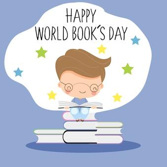 Livro de leitura bonito do menino para o conceito do dia de livro do mundo.