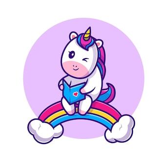 Livro de leitura bonito do unicórnio na ilustração do ícone dos desenhos animados do arco-íris.